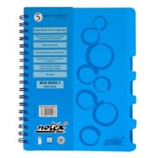 "NOTEX COOL BLUE WIREBOUND SPIRAL 5 SUBJECT NOTEBOOK 150 SHEETS 6""X9.5"" RULED/LINED PAPER"