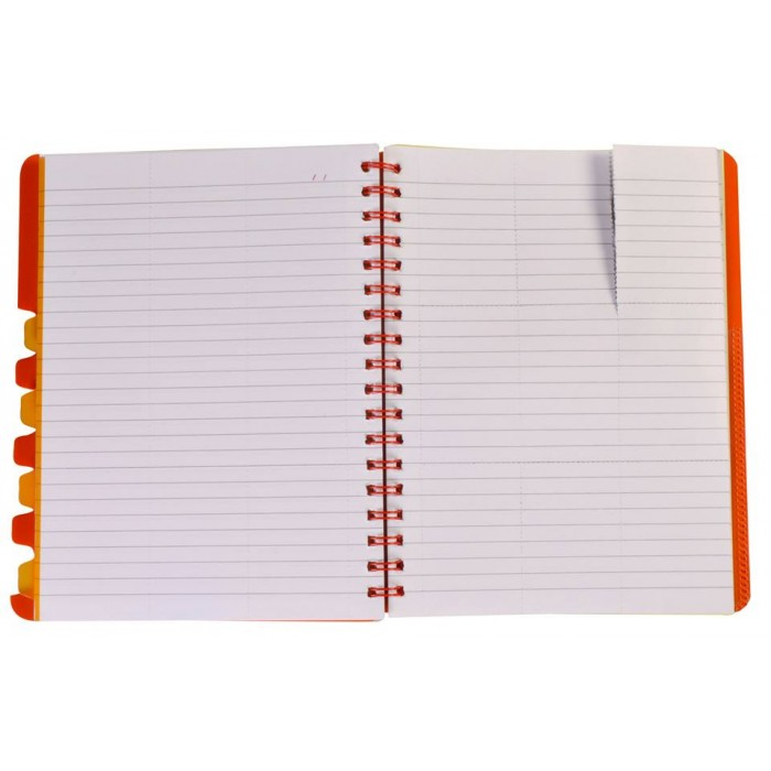 "NOTEX TANGY ORANGE WIREBOUND SPIRAL 5 SUBJECT NOTEBOOK 150 SHEETS 6""X9.5"" RULED/LINED PAPER"