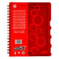 "NOTEX FUNKY RED WIREBOUND SPIRAL 5 SUBJECT NOTEBOOK 150 SHEETS 6""X9.5"" RULED/LINED PAPER"