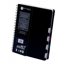 "NOTEX JET BLACK WIREBOUND SPIRAL 5 SUBJECT NOTEBOOK 150 SHEETS 6""X9.5"" RULED/LINED PAPER"