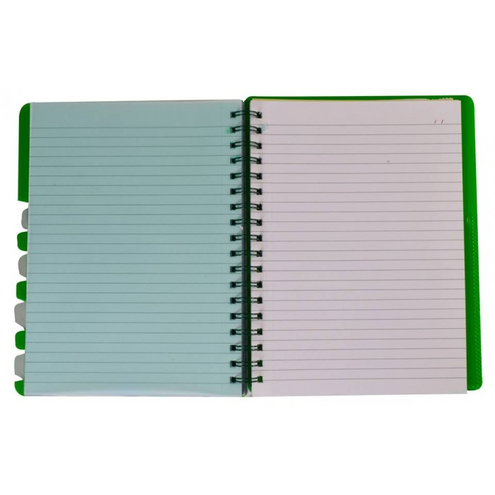 "NOTEX LEMON GREEN WIREBOUND SPIRAL 5 SUBJECT NOTEBOOK 150 SHEETS 6""X9.5"" RULED/LINED PAPER"