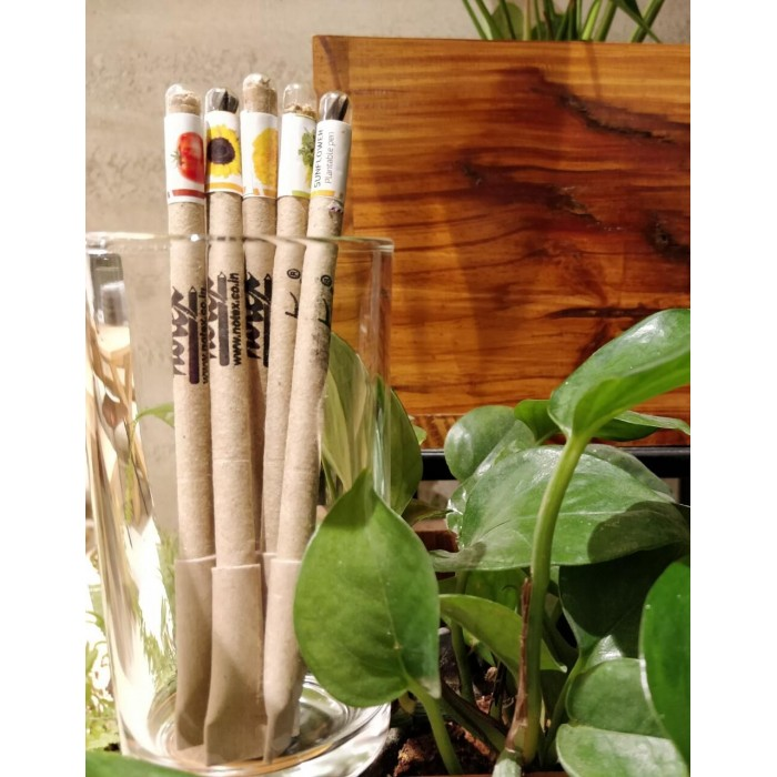 Notex Wood Free Plantable Pens. Made from 100% Recyled Newspapers / 100% Eco friendly / 5 Assorted Seeds
