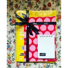 SINGLE SUBJECT BOOK (YELLOW) POCKET DIARY (ICY WHITE) IKAT CIRCLE (PINK) COMBO