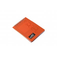 NOTEX MINI NOTEBOOK ORANGE PLASTIC (PVC) COVER TOP SPIRAL 50 LINED SHEETS OF PAPER 3X4 INCH