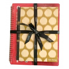 SINGLE SUBJECT BOOK (FUNKY RED - B5) THE TRAVELLER (TAN BROWN - A5) IKAT CIRCLES (GOLD -A5)